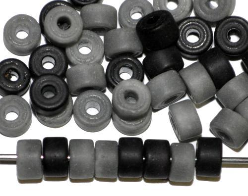 Best.Nr.:63852 Glasperlen / Trade Beads Scheiben,  grau schwarz,  in den 1930/40 Jahren in Gablonz/Böhmen hergestellt, (Prosserbeads)