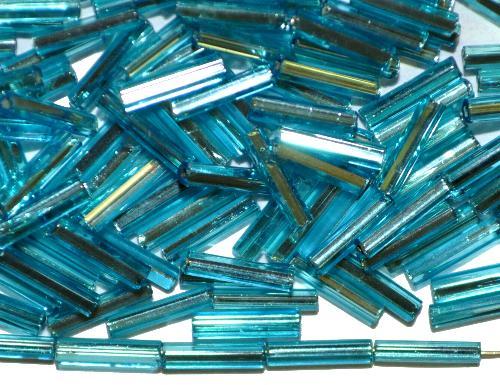 Best.Nr.:63872 Glasperlen in den 1930/40 Jahren in Gablonz/Böhmen hergestellt  2-cut Beads türkis mit Silbereinzug