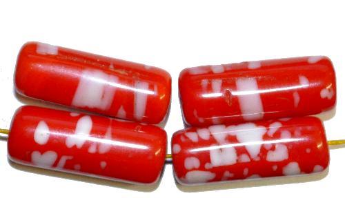 Best.Nr.:63882 Glasperlen in den 1920/30 Jahren in Gablonz/Böhmen hergestellt  rot weiß opak