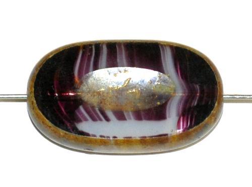 Best.Nr.:65055 Glasperlen / Table Cut Beads geschliffen violett marmoriert mit picasso finish, hergestellt in Gablonz / Tschechien
