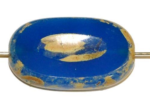 Best.Nr.:65056 Glasperlen / Table Cut Beads geschliffen powderblue mit picasso finish, hergestellt in Gablonz / Tschechien