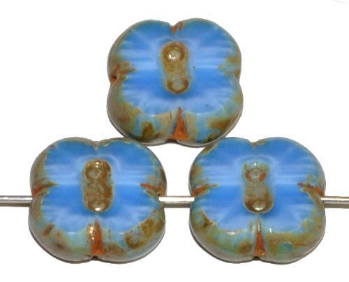 Best.Nr.:65054 Glasperlen / Table Cut Beads geschliffen, blau opak marmoriert mit picasso finish,  hergestellt in Gablonz Tschechien