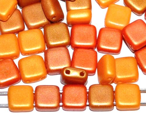 Best.Nr.:65085 Glasperlen mit zwei Löchern, Twin Hole Beads Farbmix matt, hergestellt in Gablonz / Tschechien