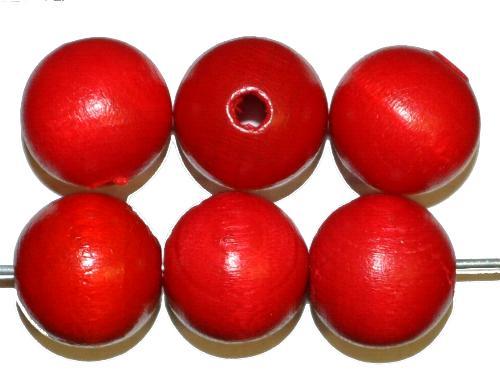 Best.Nr.:66003 Holzperlen rund rot, hergestellt in Smržovka / Tschechien