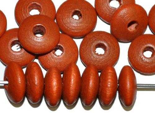 Best.Nr.:66016 Holzperlen Linsen braun, hergestellt in Smržovka / Tschechien