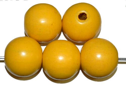 Best.Nr.:66032 Holzperlen rund gelb, hergestellt in Smržovka / Tschechien