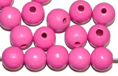 Best.Nr.:66034 Holzperlen rund pink, hergestellt in Smržovka / Tschechien