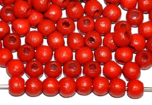 Best.Nr.:66041 Holzperle rund rot, hergestellt in Smržovka / Tschechien