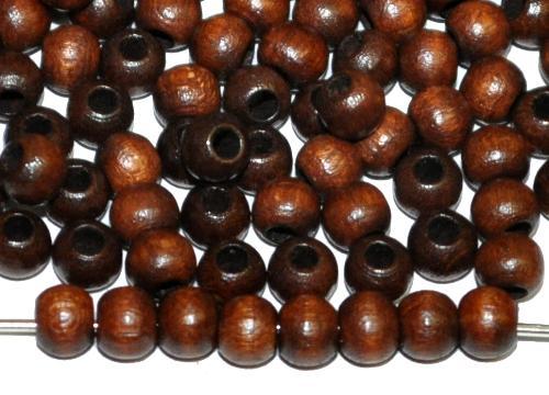 Best.Nr.:66042 Holzperlen rund dunkelbraun, hergestellt in Smržovka / Tschechien