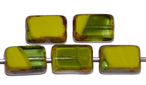 Best.Nr.:67009 Glasperlen / Table Cut Beads geschliffen, Mischglas oliv marmoriert mit picasso finish, hergestellt in Gablonz / Tschechien