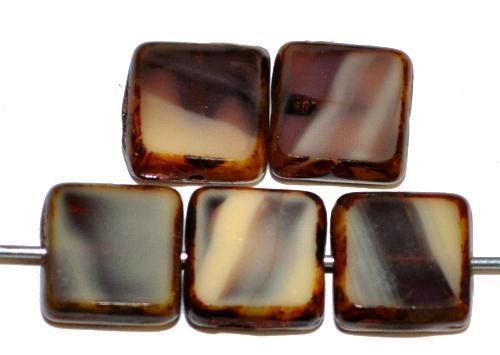 Best.Nr.:67010 Glasperlen / Table Cut Beads  geschliffen mit picasso finish,  hergestellt in Gablonz / Tschechien