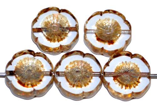 Best.Nr.:67012 Glasperlen / Table Cut Beads Blüten geschliffen,  kristall mit picasso finish, hergestellt in Gablonz / Tschechien