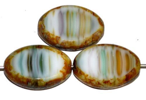 Best.Nr.:67016 Glasperlen / Table Cut Beads  Olive geschliffen, multicolor mit picasso finish, hergestellt in Gablonz / Tschechien