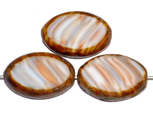 Best.Nr.:67020  Glasperlen / Table Cut Beads  Olive geschliffen, beige braun mit picasso finish, hergestellt in Gablonz / Tschechien
