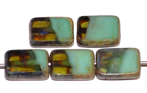 Best.Nr.:67030 Glasperlen / Table Cut Beads  geschliffen, Mischglas grün mit picasso finish, hergestellt in Gablonz Tschechien
