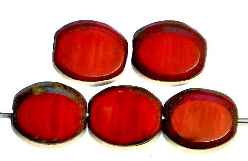 Best.Nr.:67044 Glasperlen / Table Cut Beads  Olive geschliffen rot opak mit picasso finish, hergestellt in Gablonz / Tschechien