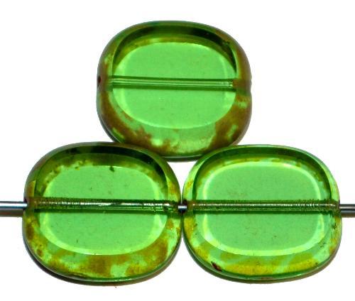 Best.Nr.:67045 Glasperlen / Table Cut Beads  Olive geschliffen, grün transp. mit picasso finish,  hergestellt in Gablonz / Tschechien