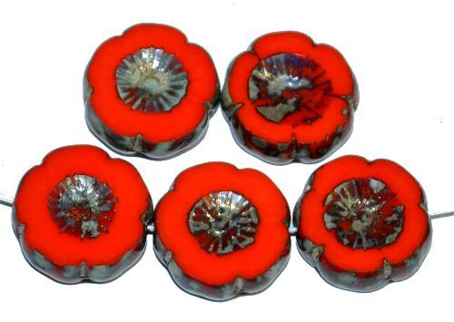 Best.Nr.:67050 Glasperlen / Table Cut Beads Blüten geschliffen  orangerot opak mit picasso finish, hergestellt in Gablonz / Tschechien