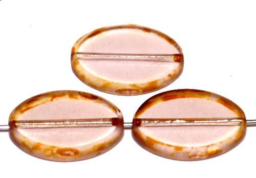 Best.Nr.:67053 Glasperlen / Table Cut Beads  Olive geschliffen, apricot transp. mit picasso finish, hergestellt in Gablonz / Tschechien