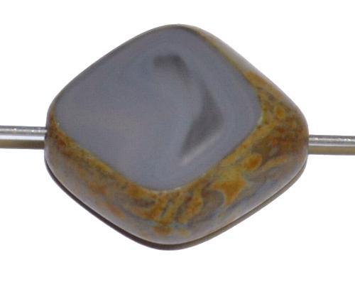 Best.Nr.:65064 große Glasperle / Table Cut Bead geschliffen grau mit Travertin-Veredelung, hergestellt in Gablonz / Tschechien