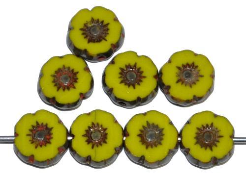 Best.Nr.:67060 Glasperlen / Table Cut Beads Blüten geschliffen, oliv opak mit picasso finish, hergestellt in Gablonz Tschechien