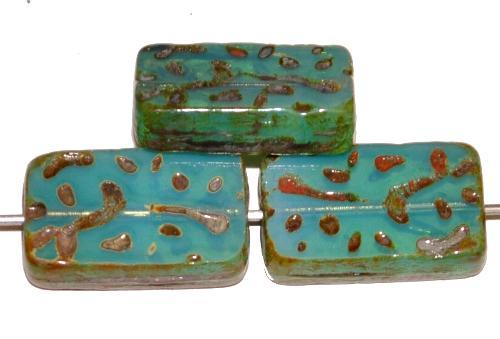 Best.Nr.:67068 Glasperlen / Table Cut Beads  geschliffen Opalglas milkygreen mit picasso finish, hergestellt in Gablonz / Tschechien