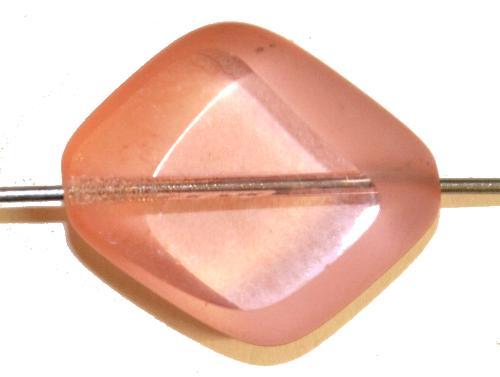 Best.Nr.:67069 Glasperle / Table Cut Beads  rosa transp. Rand mattiert (frostet), hergestellt in Gablonz / Tschechien