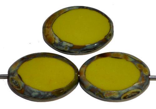 Best.Nr.:67073 Glasperlen / Table Cut Beads geschliffen,  oliv opak mit picasso finish, hergestellt in Gablonz Tschechien