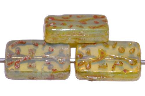 Best.Nr.:67076 Glasperlen / Table Cut Beads  geschliffen Opalglas blassgrün mit picasso finish, hergestellt in Gablonz / Tschechien