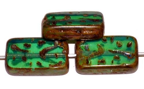 Best.Nr.:67077  Glasperlen / Table Cut Beads  geschliffen Opalglas oceangreen mit picasso finish, hergestellt in Gablonz / Tschechien