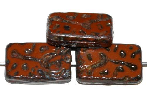Best.Nr.:67079 Glasperlen / Table Cut Beads geschliffen braun opak mit picasso finish, hergestellt in Gablonz / Tschechien