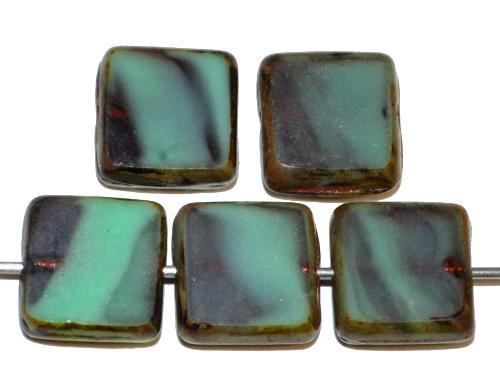 Best.Nr.:67081 Glasperlen / Table Cut Beads, türkis violett, geschliffen mit picasso finish,  hergestellt in Gablonz / Tschechien