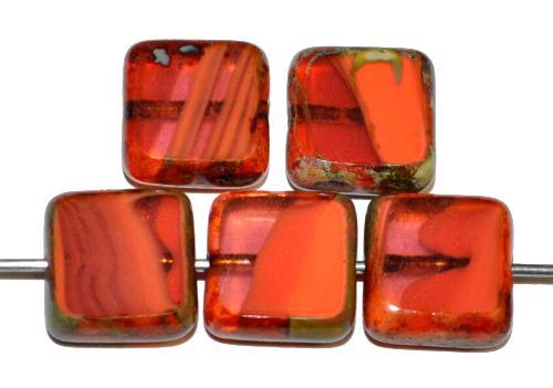 Best.Nr.:67085 Glasperlen / Table Cut Beads geschliffen corallrot mit picasso finish,  hergestellt in Gablonz / Tschechien