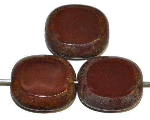 Best.Nr.:67087  Glasperlen / Table Cut Beads  Olive geschliffen  braun opak mit picasso finish,  hergestellt in Gablonz / Tschechien
