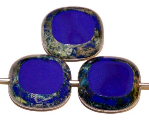 Best.Nr.:67088  Glasperlen / Table Cut Beads geschliffen  dunkelblau opak mit picasso finish,  hergestellt in Gablonz / Tschechien