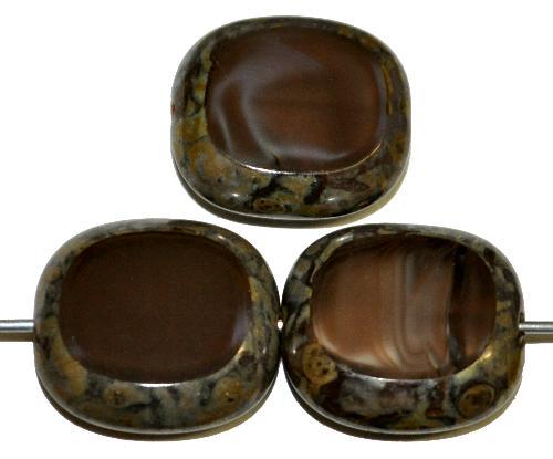 Best.Nr.:67089 Glasperlen / Table Cut Beads  Olive geschliffen  baun opak mit picasso finish,  hergestellt in Gablonz / Tschechien