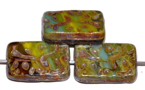Best.Nr.:67090  Glasperlen / Table Cut Beads  geschliffen oliv mit picasso finish, hergestellt in Gablonz / Tschechien