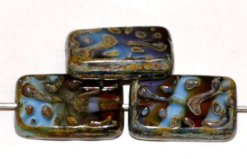 Best.Nr.:67472 Glasperlen / Table Cut Beads geschliffen blau topas mit picasso finish, hergestellt in Gablonz / Tschechien