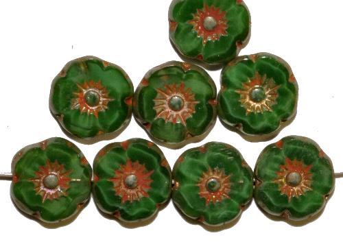Best.Nr.:67092 Glasperlen / Table Cut Beads Blüten geschliffen  Perlettglas grün mit burning silver picasso finish,  hergestellt in Gablonz / Tschechien