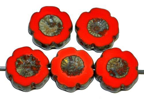 Best.Nr.:671000 Glasperlen / Table Cut Beads rot opak, Blüten geschliffen mit picasso finish