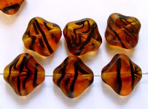 Best.Nr.:671015 Glasperlen / Table Cut Beads geschliffen, topas Rand mattiert (frostet)