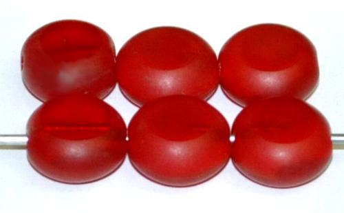 Best.Nr.:671016 Glasperlen / Table Cut Beads  geschliffen / rot Rand mattiert (frostet),  hergestellt in Gablonz Tschechien