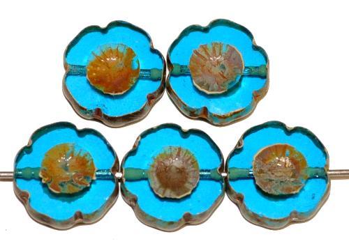 Best.Nr.:671024 Glasperlen / Table Cut Beads Blüten geschliffen türkis transp. mit picasso finish, hergestellt in Gablonz / Tschechien