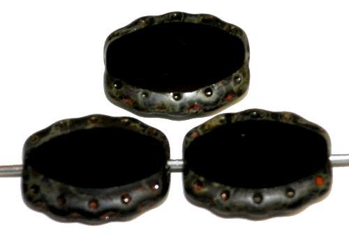 Best.Nr.:671033 Glasperlen / Table Cut Beads geschliffen,  schwarz opak mit picasso finish,  hergestellt in Gablonz Tschechien