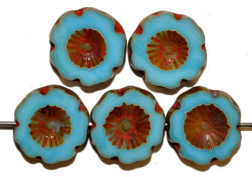 Best.Nr.:671047  Glasperlen / Table Cut Beads  geschliffen, hellblau opak  mit picasso finish  hergestellt in Gablonz / Tschechien