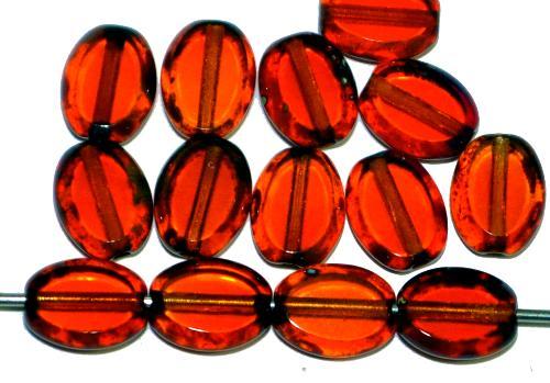 Best.Nr.:67106 Glasperlen / Table Cut Beads geschliffen Olive  orangrot transp. mit picasso finish,  hergestellt in Gablonz / Tschechien