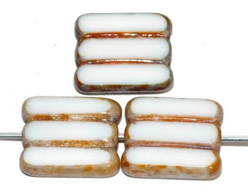 Best.Nr.:671061 Glasperlen / Table Cut Beads geschliffen, alabasterweiß mit picasso finish, hergestellt in Gablonz / Tschechien