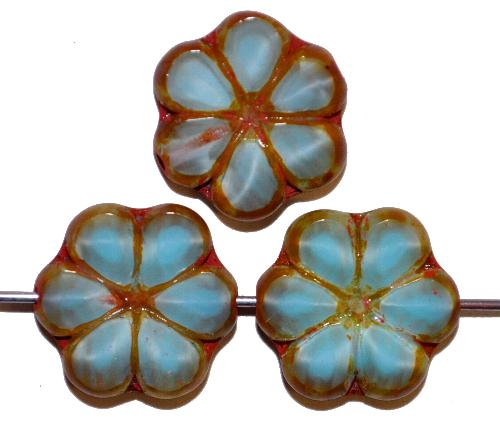Best.Nr.:67365 Glasperlen / Table Cut Beads, Perlettglas hellblau, geschliffen mit picasso finish, hergestellt in Gablonz / Tschechien