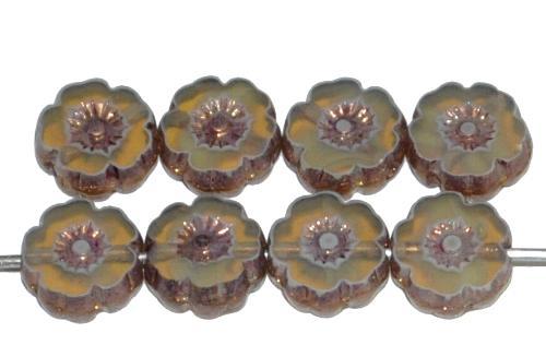 Best.Nr.:671063 Glasperlen / Table Cut Beads geschliffen, Opalglas mit bronze finish, hergestellt in Gablonz Tschechien
