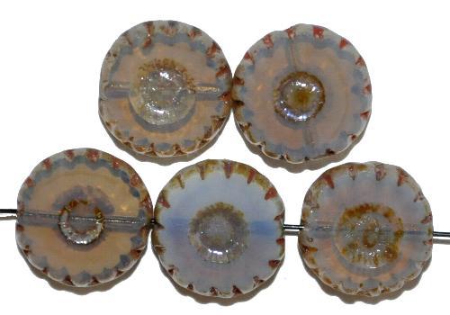 Best.Nr.:671066 Glasperlen / Table Cut Beads geschliffen Opalglas silk mit picasso finish,  hergestellt in Gablonz / Tschechien